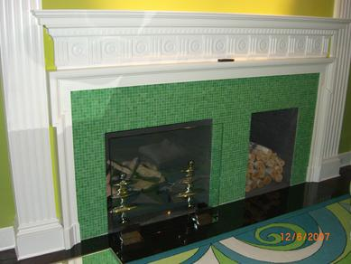 Tile Fireplace wood storage