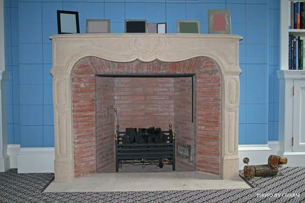 stone brick fireplace