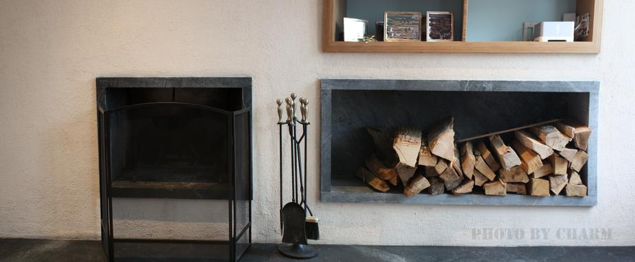 Custom Fireplace Wood Storage